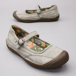 Keen Ladies 8.5 Mary Jane Leather and Canvas Clogs